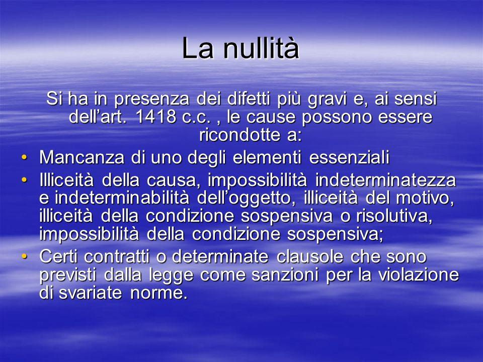 La nullità Si ha in presenza dei difetti più gravi e, ai sensi dellart. 1418 c.c., le cause possono essere ricondotte a: Mancanza di uno degli element
