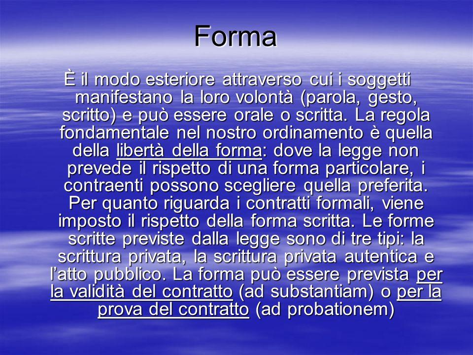 Forma È il modo esteriore attraverso cui i soggetti manifestano la loro volontà (parola, gesto, scritto) e può essere orale o scritta. La regola fonda