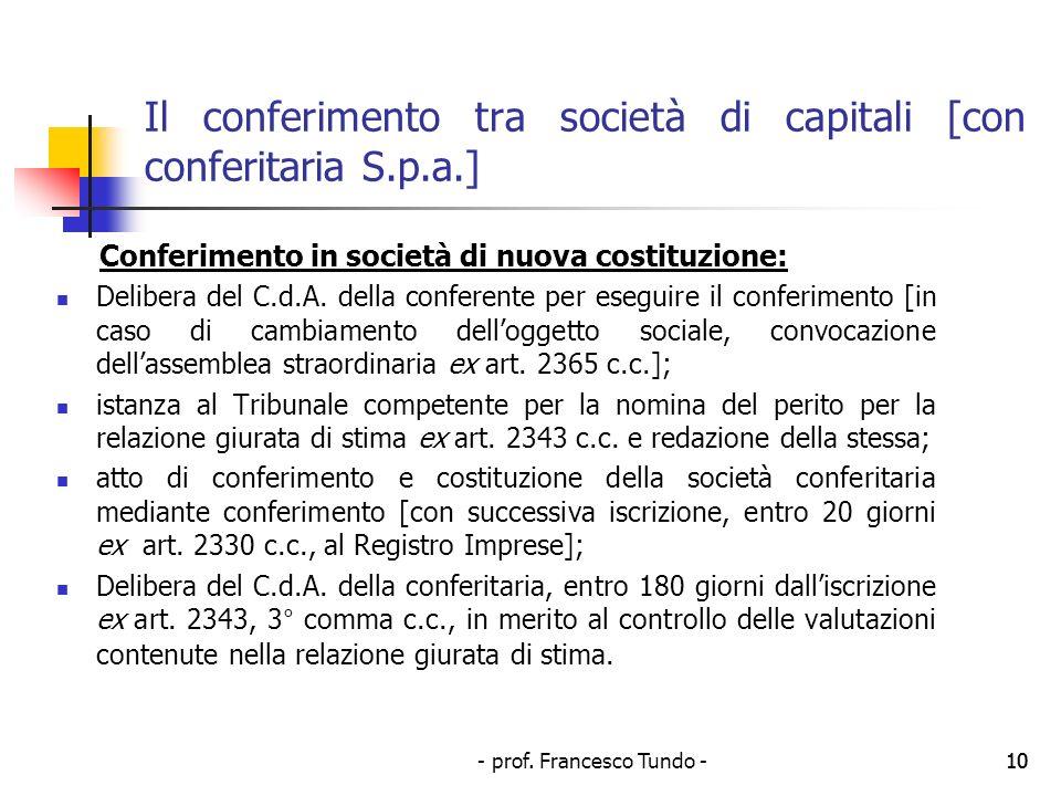 - prof. Francesco Tundo -10 Il conferimento tra società di capitali [con conferitaria S.p.a.] Conferimento in società di nuova costituzione: Delibera