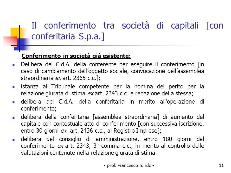 - prof. Francesco Tundo -11 Il conferimento tra società di capitali [con conferitaria S.p.a.] Conferimento in società già esistente: Delibera del C.d.