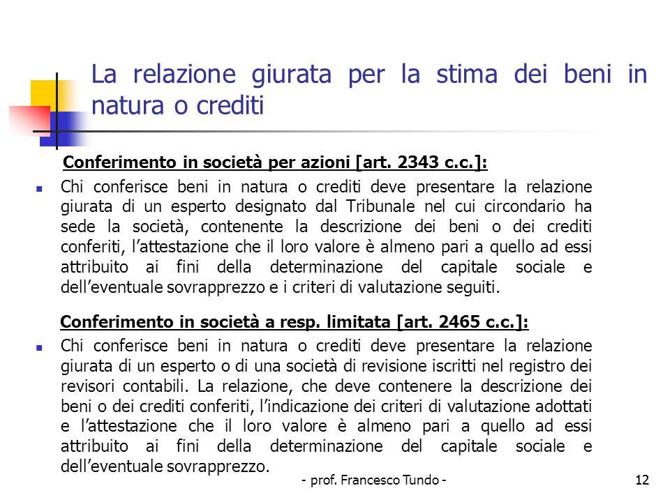 - prof. Francesco Tundo -12 La relazione giurata per la stima dei beni in natura o crediti Conferimento in società per azioni [art. 2343 c.c.]: Chi co
