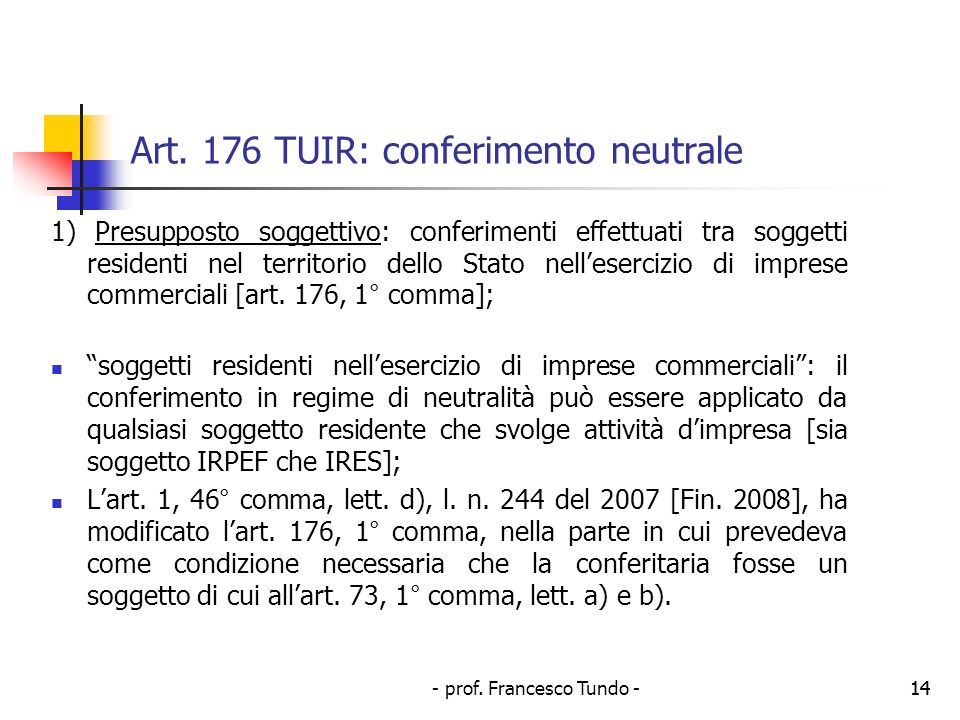 - prof.Francesco Tundo -14 Art.