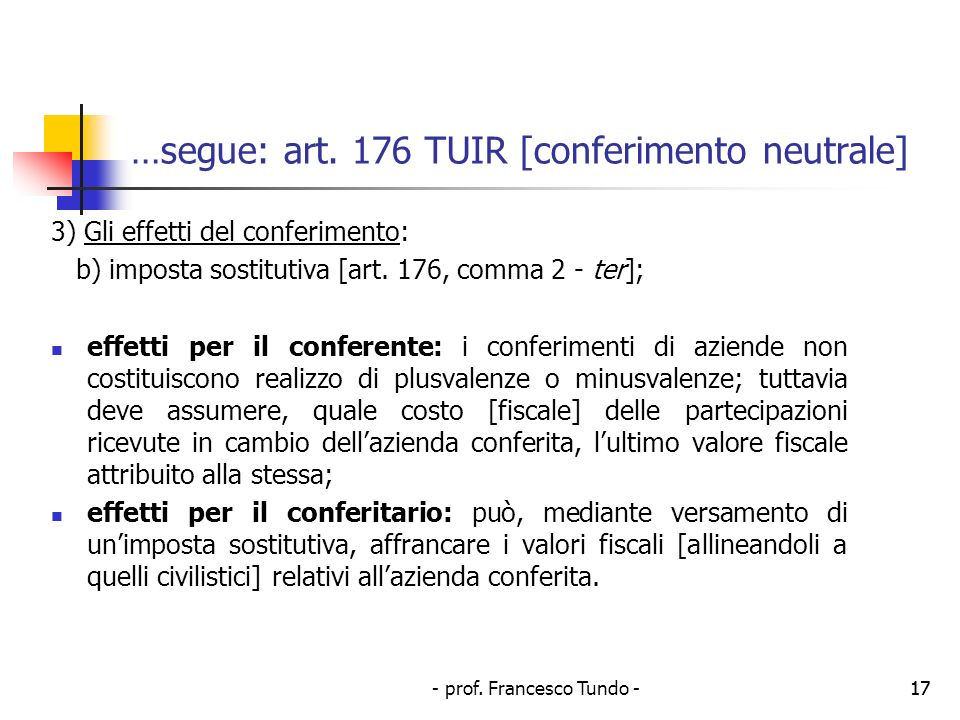 - prof.Francesco Tundo -17 …segue: art.
