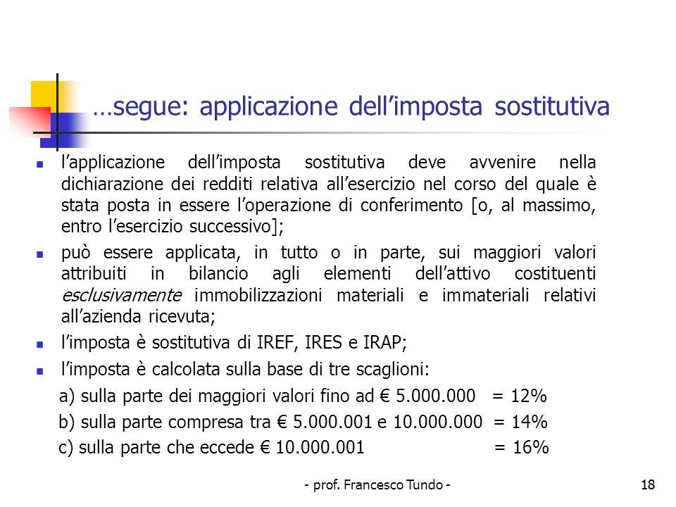 - prof. Francesco Tundo -18 …segue: applicazione dellimposta sostitutiva lapplicazione dellimposta sostitutiva deve avvenire nella dichiarazione dei r