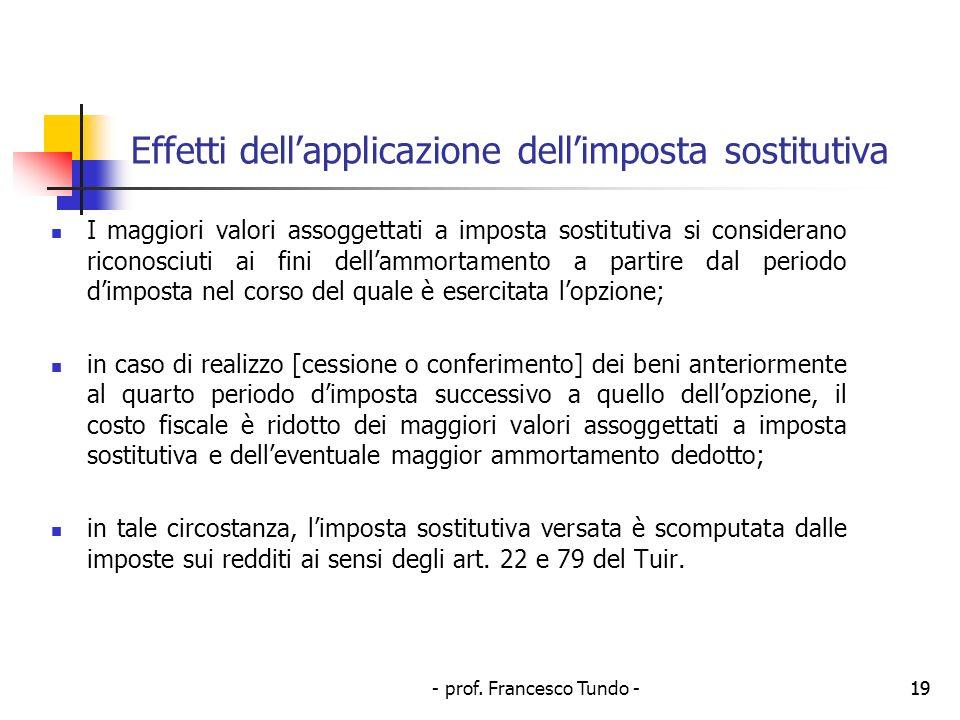 - prof. Francesco Tundo -19 Effetti dellapplicazione dellimposta sostitutiva I maggiori valori assoggettati a imposta sostitutiva si considerano ricon