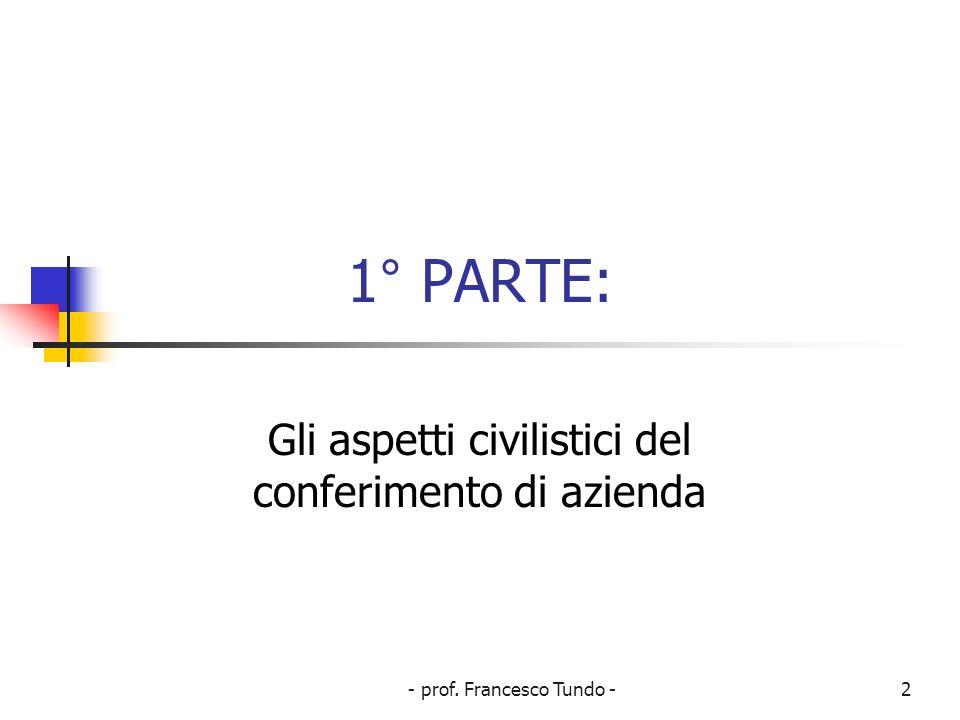 - prof. Francesco Tundo -2 1° PARTE: Gli aspetti civilistici del conferimento di azienda