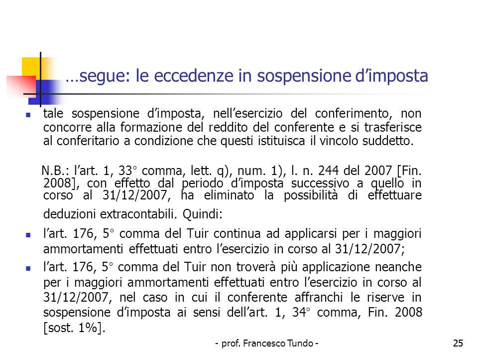 - prof. Francesco Tundo -25 …segue: le eccedenze in sospensione dimposta tale sospensione dimposta, nellesercizio del conferimento, non concorre alla