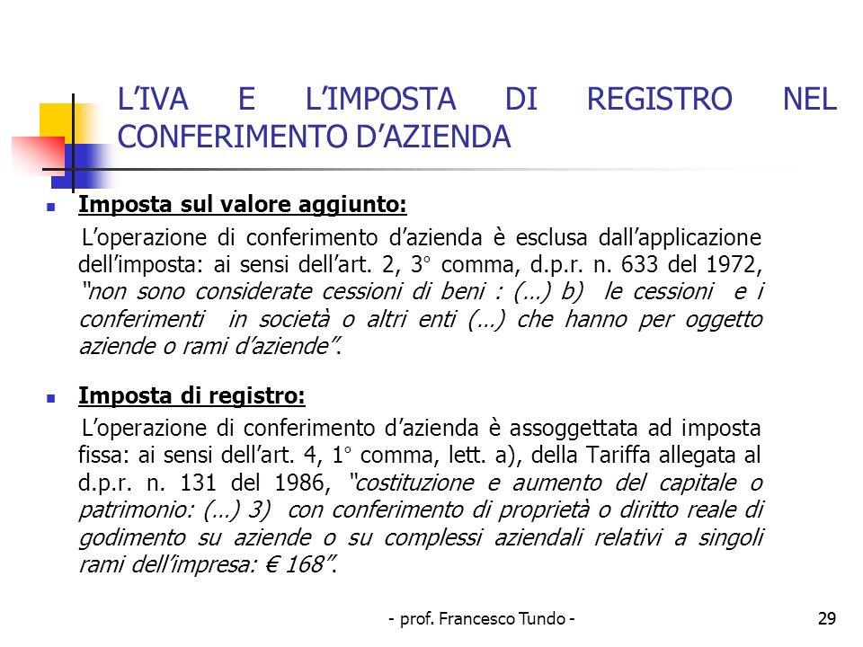 - prof. Francesco Tundo -29 LIVA E LIMPOSTA DI REGISTRO NEL CONFERIMENTO DAZIENDA Imposta sul valore aggiunto: Loperazione di conferimento dazienda è