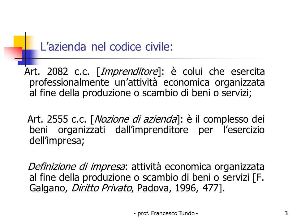 - prof. Francesco Tundo -3 Lazienda nel codice civile: Art. 2082 c.c. [Imprenditore]: è colui che esercita professionalmente unattività economica orga