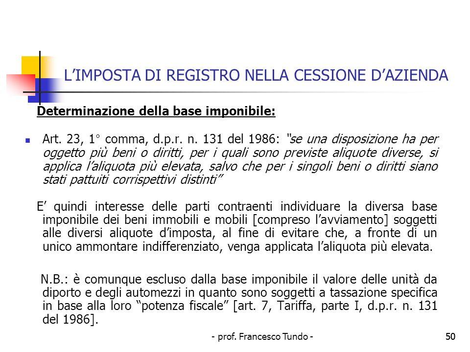 - prof. Francesco Tundo -50 LIMPOSTA DI REGISTRO NELLA CESSIONE DAZIENDA Determinazione della base imponibile: Art. 23, 1° comma, d.p.r. n. 131 del 19