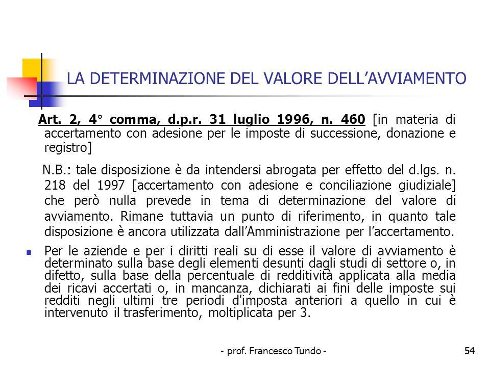 - prof. Francesco Tundo -54 LA DETERMINAZIONE DEL VALORE DELLAVVIAMENTO Art. 2, 4° comma, d.p.r. 31 luglio 1996, n. 460 [in materia di accertamento co