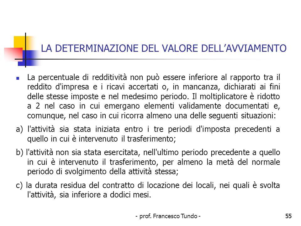 - prof. Francesco Tundo -55 LA DETERMINAZIONE DEL VALORE DELLAVVIAMENTO La percentuale di redditività non può essere inferiore al rapporto tra il redd
