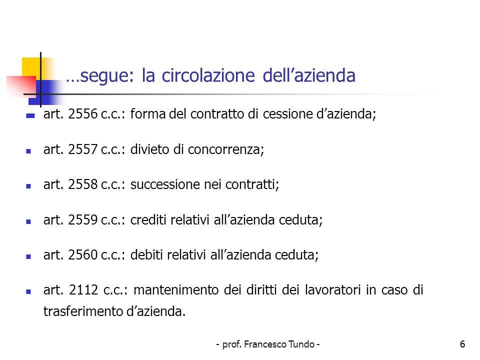 - prof. Francesco Tundo -6 …segue: la circolazione dellazienda art. 2556 c.c.: forma del contratto di cessione dazienda; art. 2557 c.c.: divieto di co