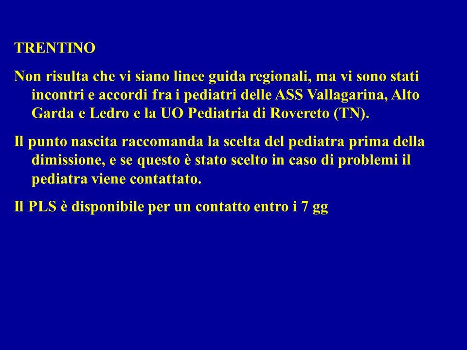 TRENTINO Non risulta che vi siano linee guida regionali, ma vi sono stati incontri e accordi fra i pediatri delle ASS Vallagarina, Alto Garda e Ledro e la UO Pediatria di Rovereto (TN).