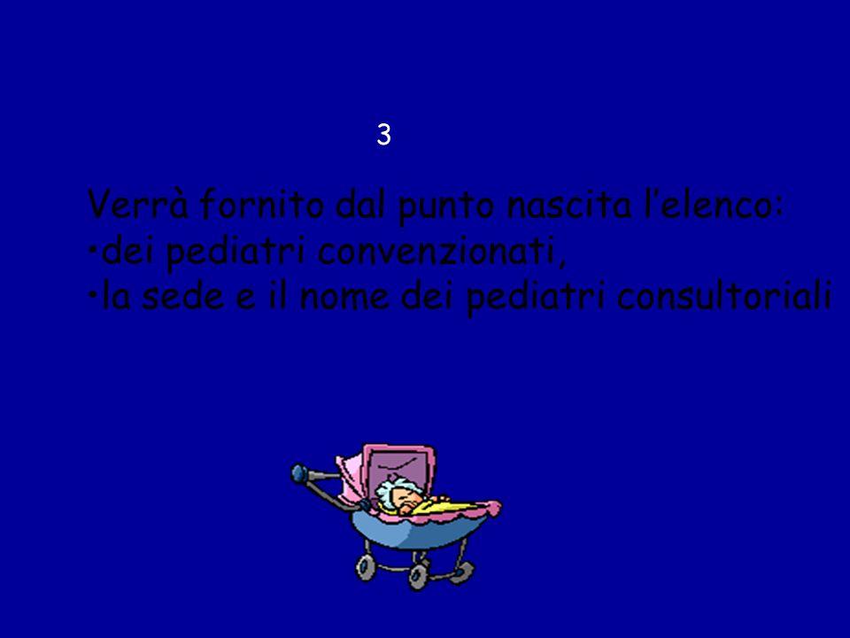 Verrà fornito dal punto nascita lelenco: dei pediatri convenzionati, la sede e il nome dei pediatri consultoriali 3
