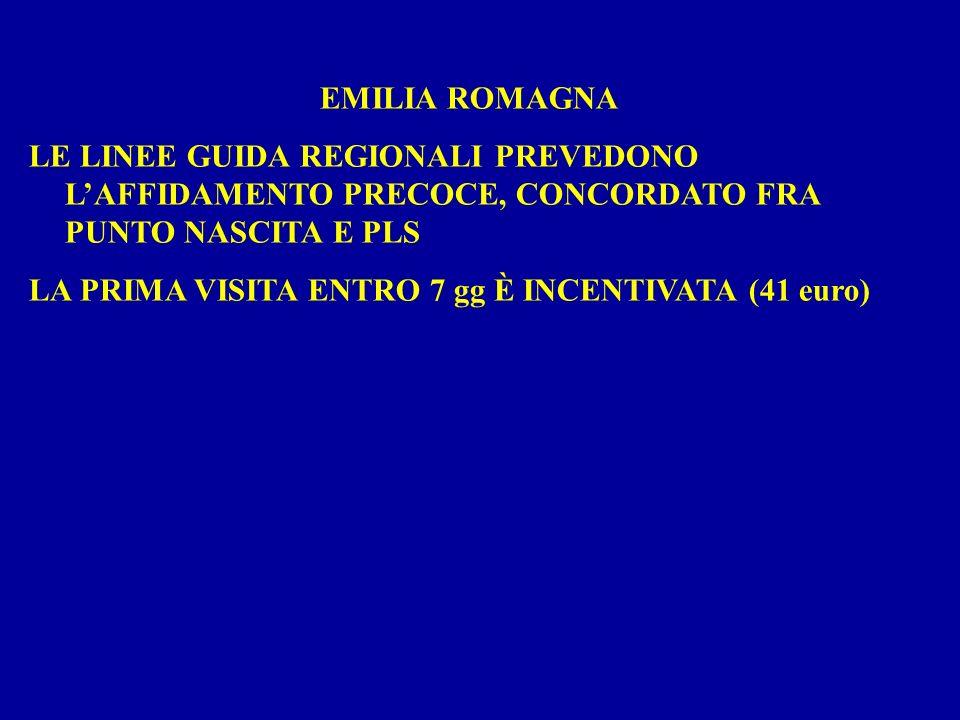EMILIA ROMAGNA LE LINEE GUIDA REGIONALI PREVEDONO LAFFIDAMENTO PRECOCE, CONCORDATO FRA PUNTO NASCITA E PLS LA PRIMA VISITA ENTRO 7 gg È INCENTIVATA (41 euro)