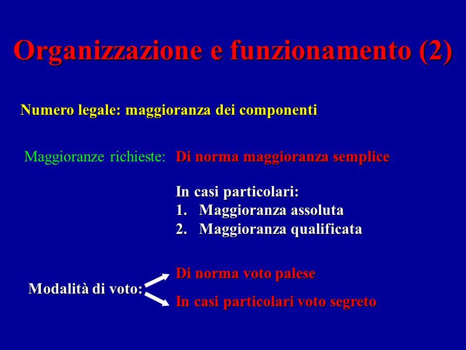 Organizzazione e funzionamento (1) Le Camere si riuniscono: 1.In Aula; 2.In Commissione.