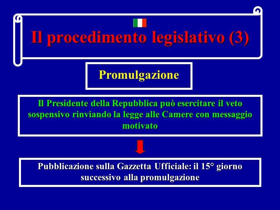 Il procedimento legislativo (2) Discussione ed approvazione Procedimento normale La Commissione permanente discute la legge in sede referente LAssemblea plenaria discute ed approva la legge.