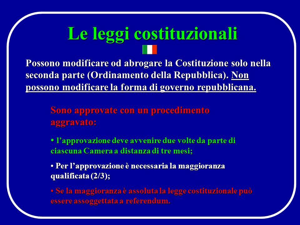 Il procedimento legislativo (3) Promulgazione Il Presidente della Repubblica può esercitare il veto sospensivo rinviando la legge alle Camere con messaggio motivato Pubblicazione sulla Gazzetta Ufficiale: il 15° giorno successivo alla promulgazione