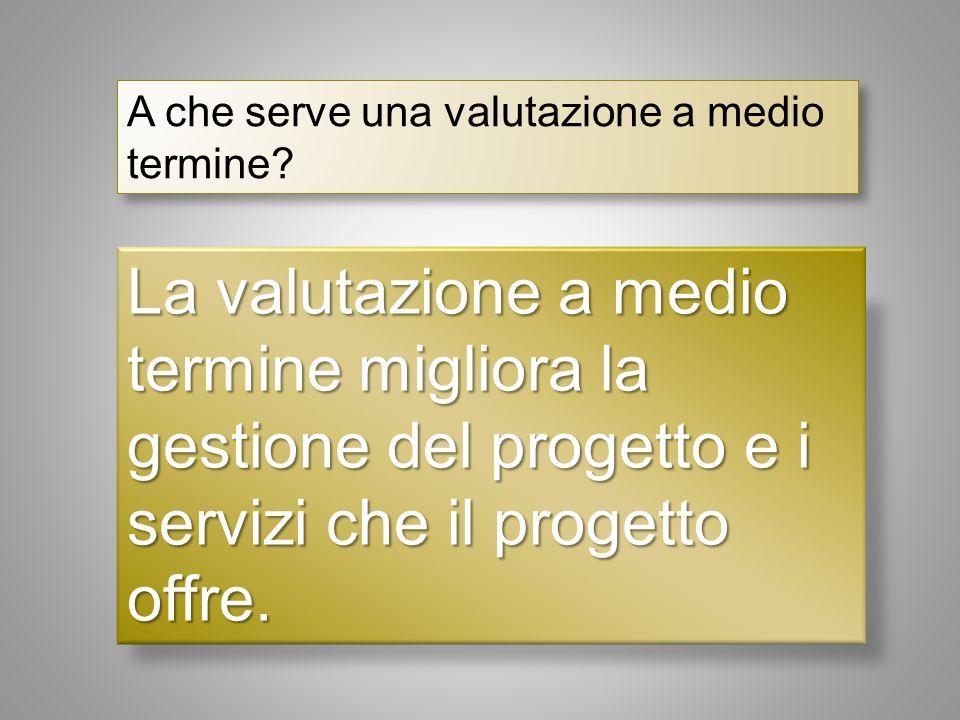 La valutazione a medio termine migliora la gestione del progetto e i servizi che il progetto offre.