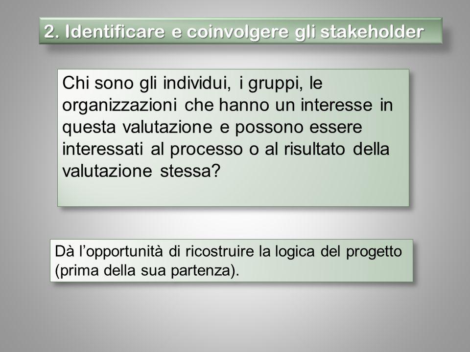 2. Identificare e coinvolgere gli stakeholder Chi sono gli individui, i gruppi, le organizzazioni che hanno un interesse in questa valutazione e posso