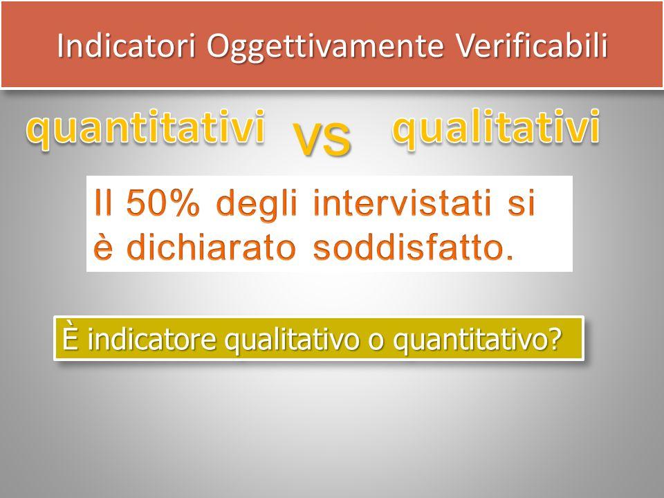 vs È indicatore qualitativo o quantitativo? Indicatori Oggettivamente Verificabili