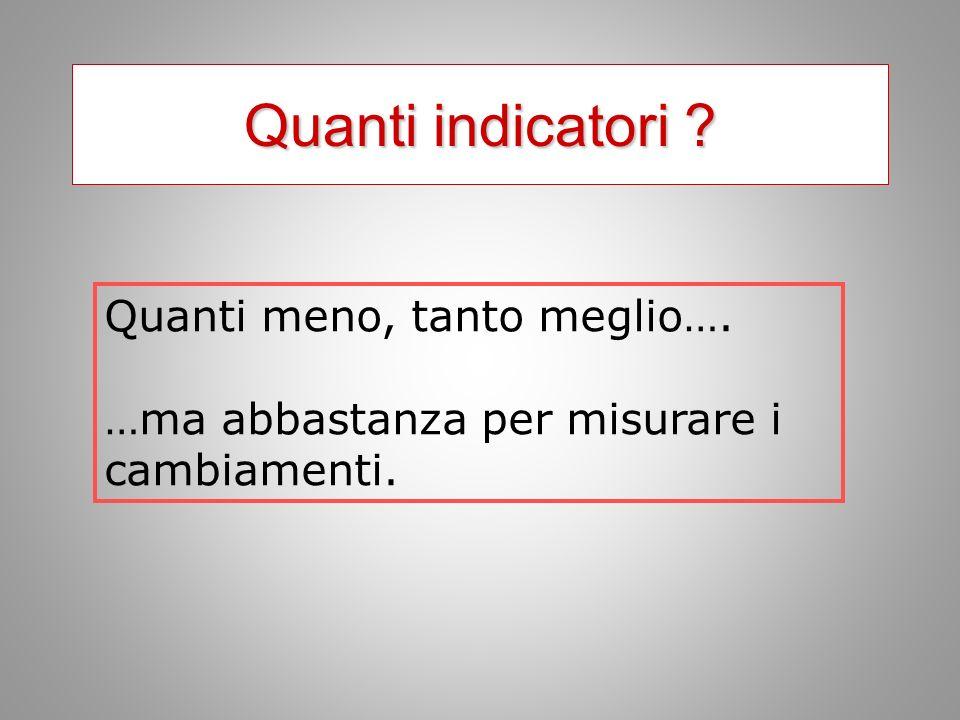 Quanti indicatori ? Quanti meno, tanto meglio…. …ma abbastanza per misurare i cambiamenti.