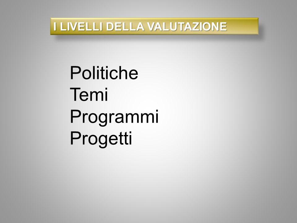 I LIVELLI DELLA VALUTAZIONE Politiche Temi Programmi Progetti