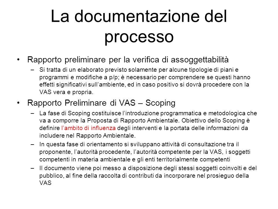 La documentazione del processo Rapporto preliminare per la verifica di assoggettabilità –Si tratta di un elaborato previsto solamente per alcune tipol