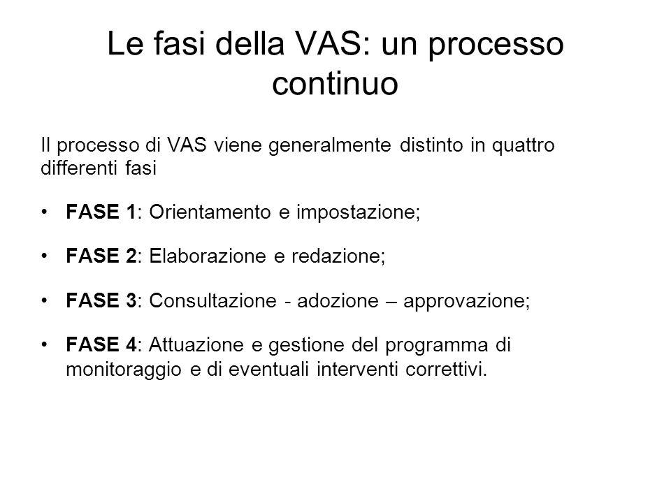 Le fasi della VAS: un processo continuo Il processo di VAS viene generalmente distinto in quattro differenti fasi FASE 1: Orientamento e impostazione;