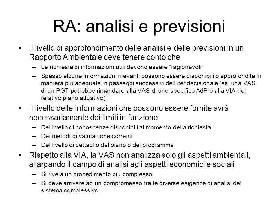 RA: analisi e previsioni Il livello di approfondimento delle analisi e delle previsioni in un Rapporto Ambientale deve tenere conto che –Le richieste