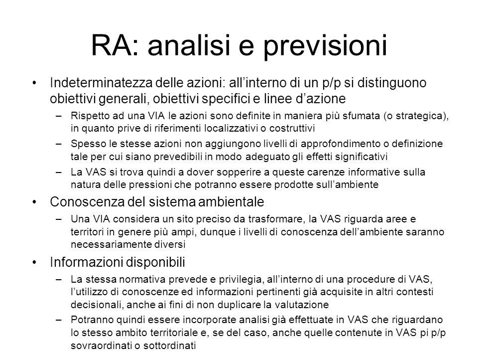 RA: analisi e previsioni Indeterminatezza delle azioni: allinterno di un p/p si distinguono obiettivi generali, obiettivi specifici e linee dazione –R
