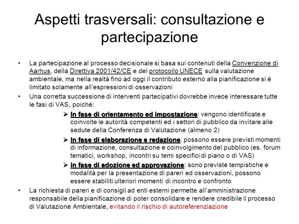 Aspetti trasversali: consultazione e partecipazione La partecipazione al processo decisionale si basa sui contenuti della Convenzione di Aarhus, della