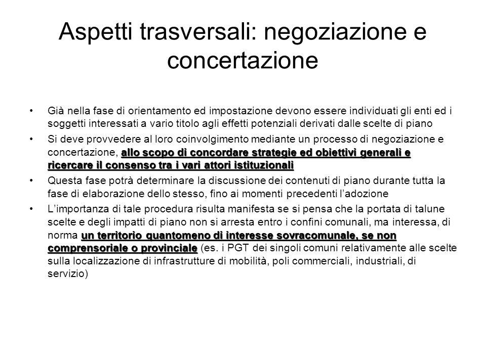 Aspetti trasversali: negoziazione e concertazione Già nella fase di orientamento ed impostazione devono essere individuati gli enti ed i soggetti inte