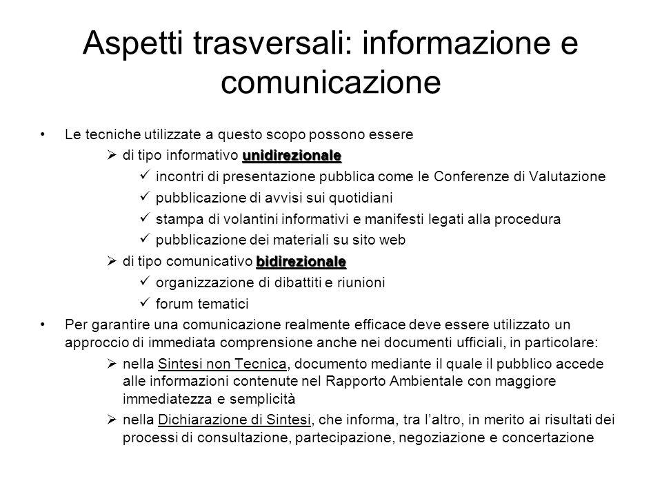 Aspetti trasversali: informazione e comunicazione Le tecniche utilizzate a questo scopo possono essere unidirezionale di tipo informativo unidireziona