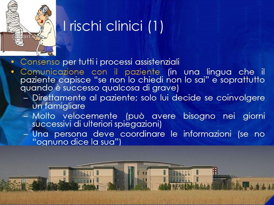 I rischi clinici (1) Consenso per tutti i processi assistenziali Comunicazione con il paziente (in una lingua che il paziente capisce se non lo chiedi