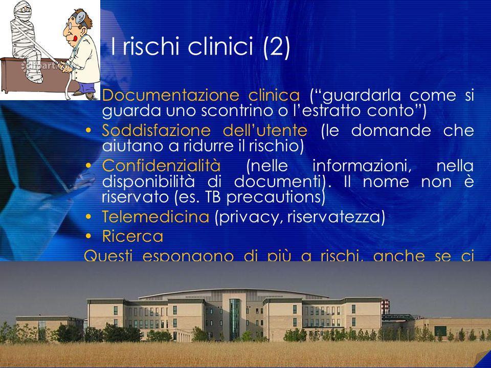 I rischi clinici (2) Documentazione clinica (guardarla come si guarda uno scontrino o lestratto conto) Soddisfazione dellutente (le domande che aiutan