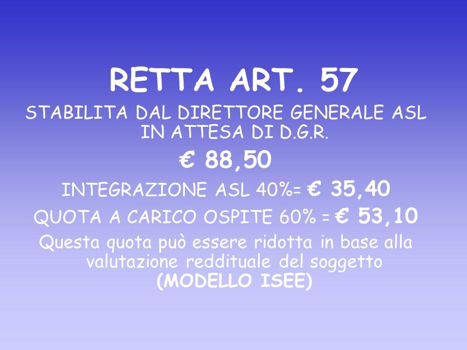 RETTA ART. 57 STABILITA DAL DIRETTORE GENERALE ASL IN ATTESA DI D.G.R.