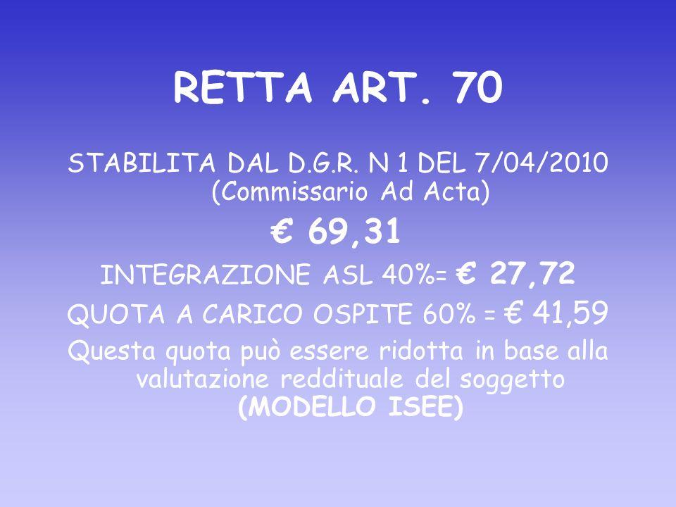 RETTA ART. 70 STABILITA DAL D.G.R.