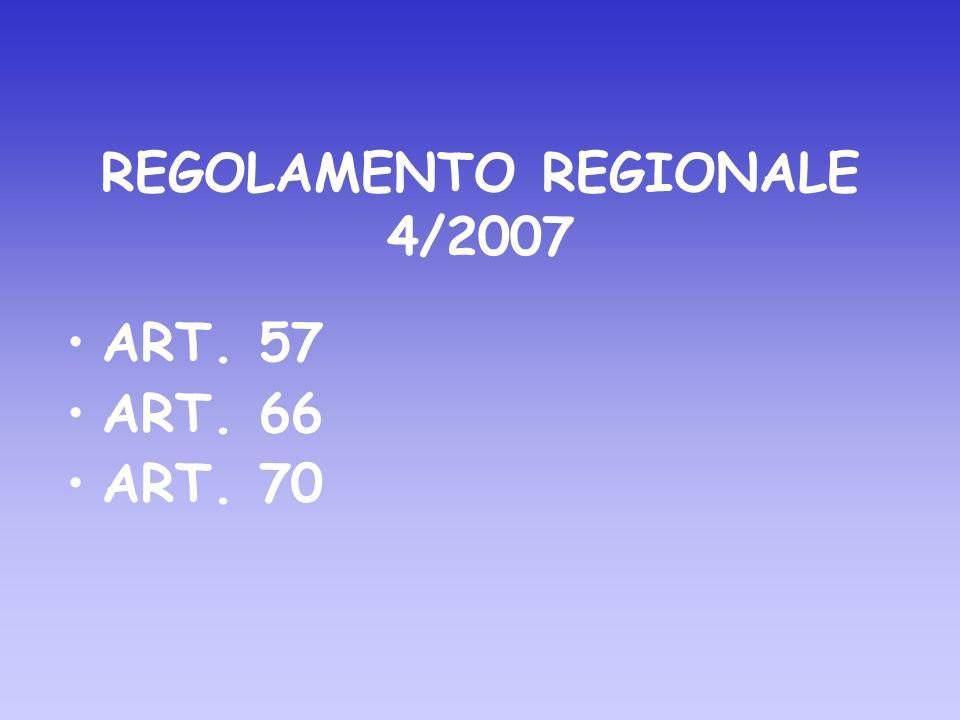 REGOLAMENTO REGIONALE 4/2007 ART. 57 ART. 66 ART. 70