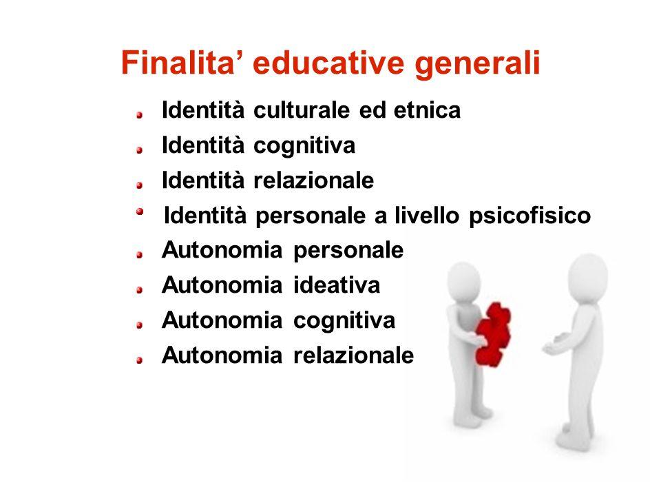 Finalita educative generali Identità culturale ed etnica Identità cognitiva Identità relazionale Identità personale a livello psicofisico Autonomia pe