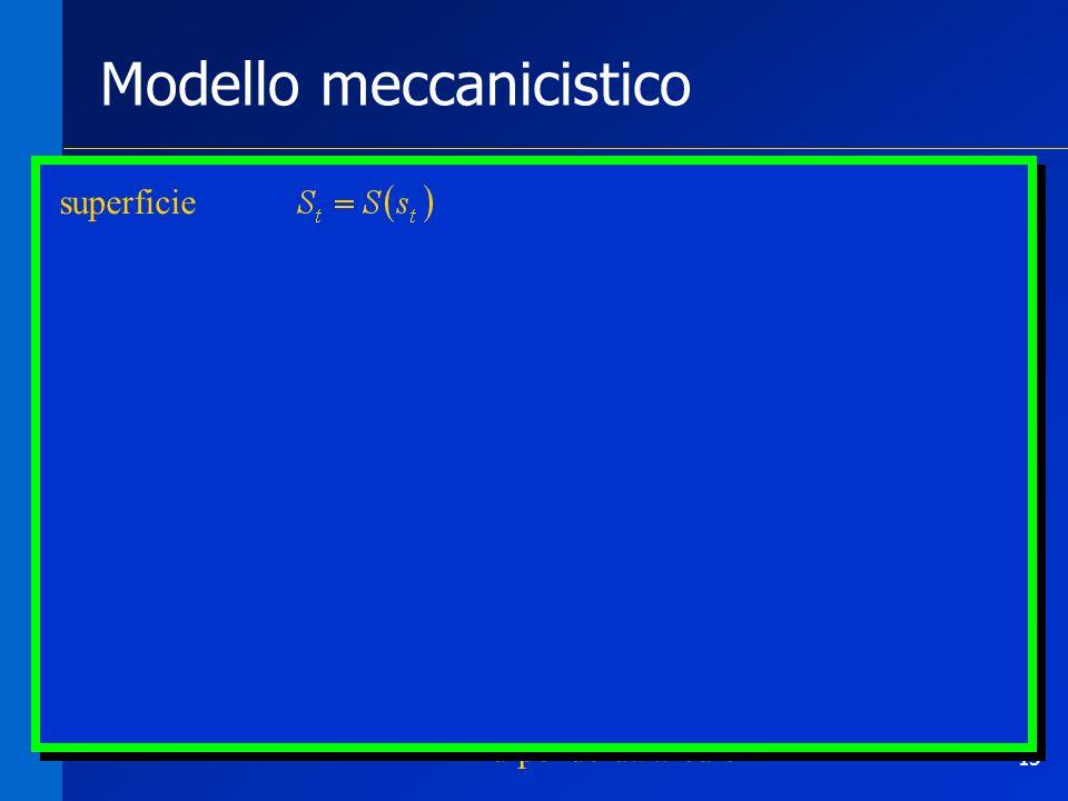 15 Modello meccanicistico Cosa manca alla rete? - levaporazione - r dipende da a ed e superficie