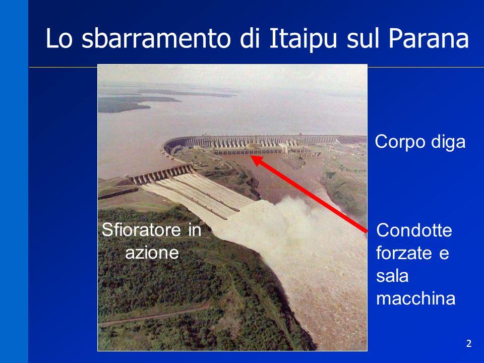 2 Lo sbarramento di Itaipu sul Parana Sfioratore in azione Corpo diga Condotte forzate e sala macchina