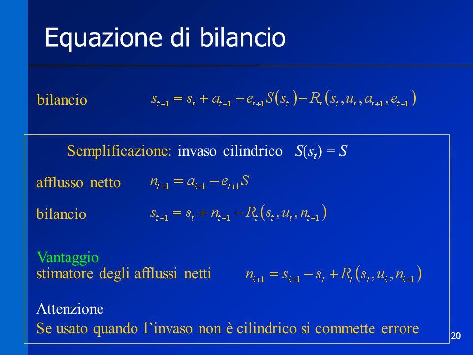 20 Equazione di bilancio afflusso netto bilancio stimatore degli afflussi netti Semplificazione: invaso cilindrico S(s t ) = S Vantaggio Attenzione Se