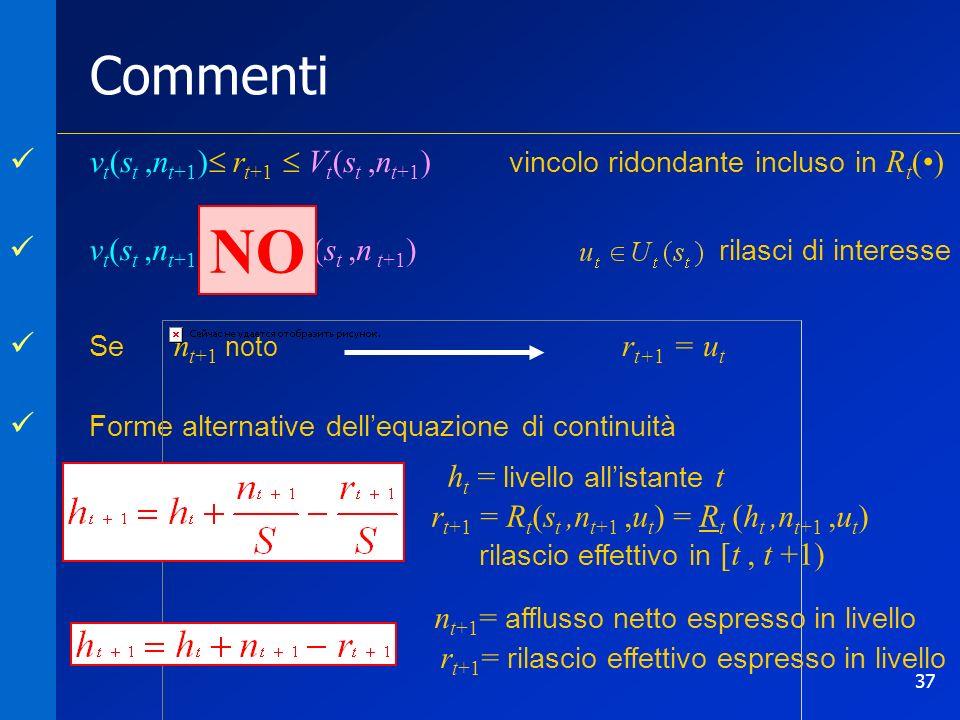 37 Commenti Se n t+1 noto Forme alternative dellequazione di continuità r t+1 = u t h t = livello allistante t r t+1 = R t (s t,n t+1,u t ) = R t (h t