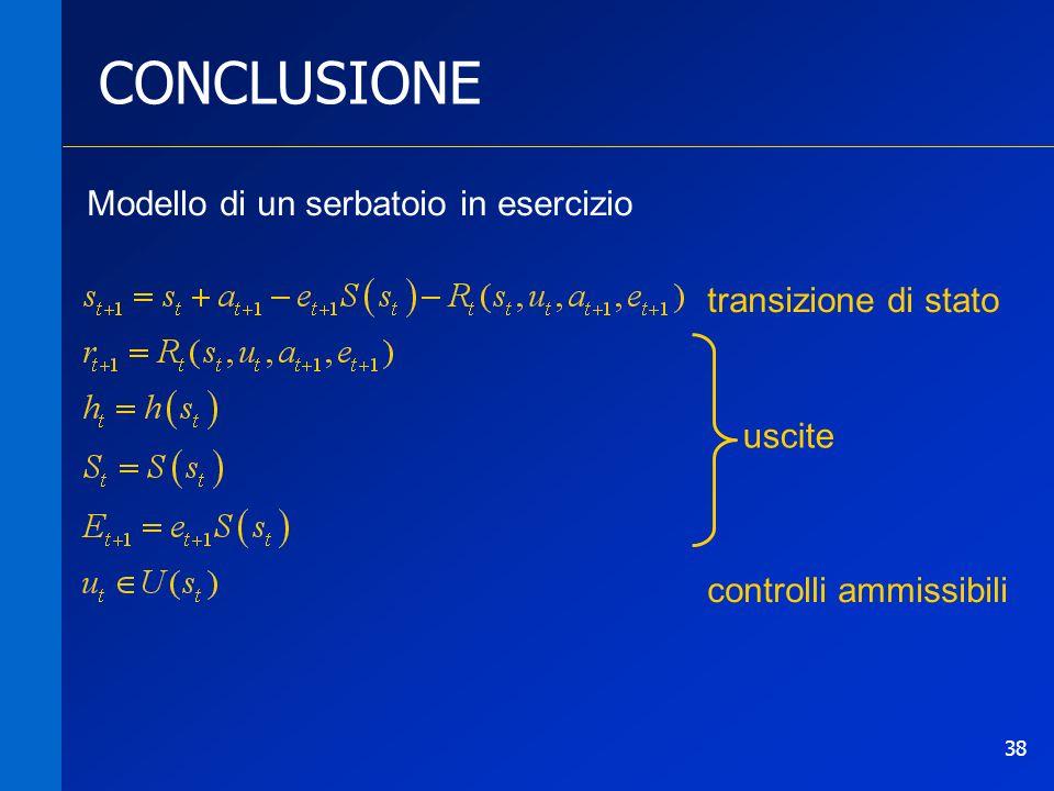 38 CONCLUSIONE Modello di un serbatoio in esercizio uscite controlli ammissibili transizione di stato