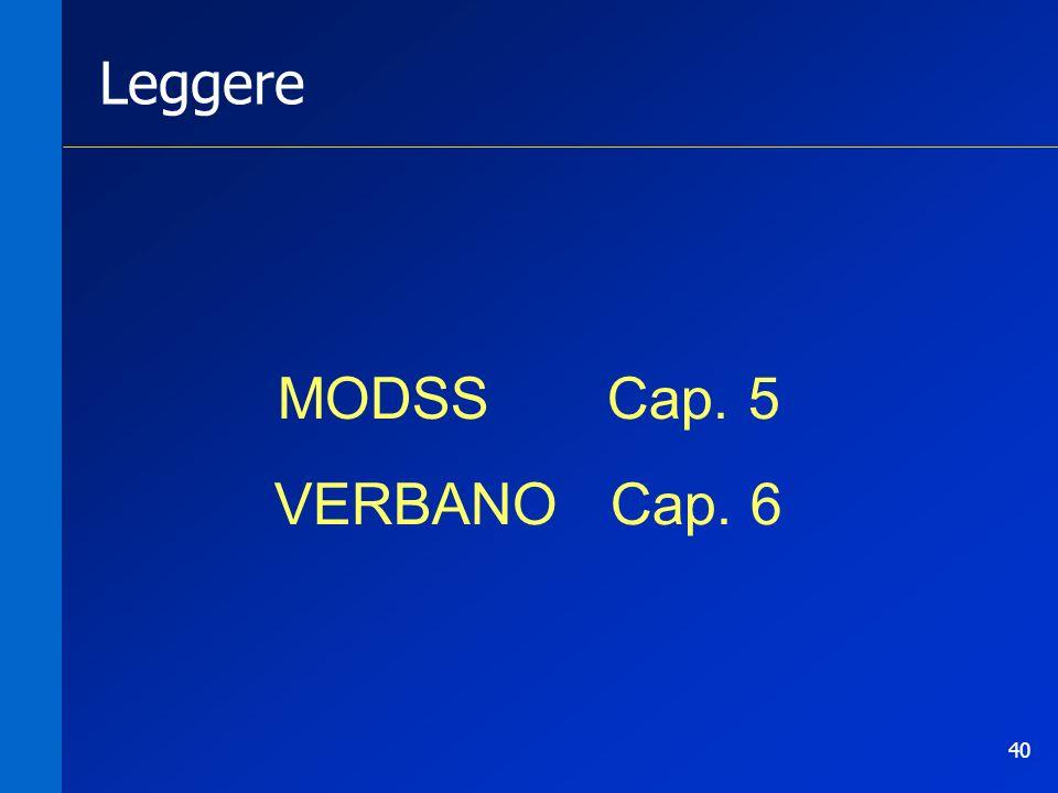 40 Leggere MODSS Cap. 5 VERBANO Cap. 6