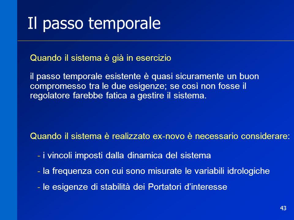 43 Il passo temporale Quando il sistema è già in esercizio il passo temporale esistente è quasi sicuramente un buon compromesso tra le due esigenze; s
