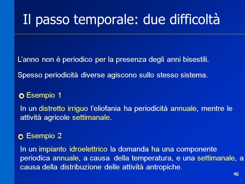 46 Il passo temporale: due difficoltà Spesso periodicità diverse agiscono sullo stesso sistema. Esempio 1 In un distretto irriguo leliofania ha period