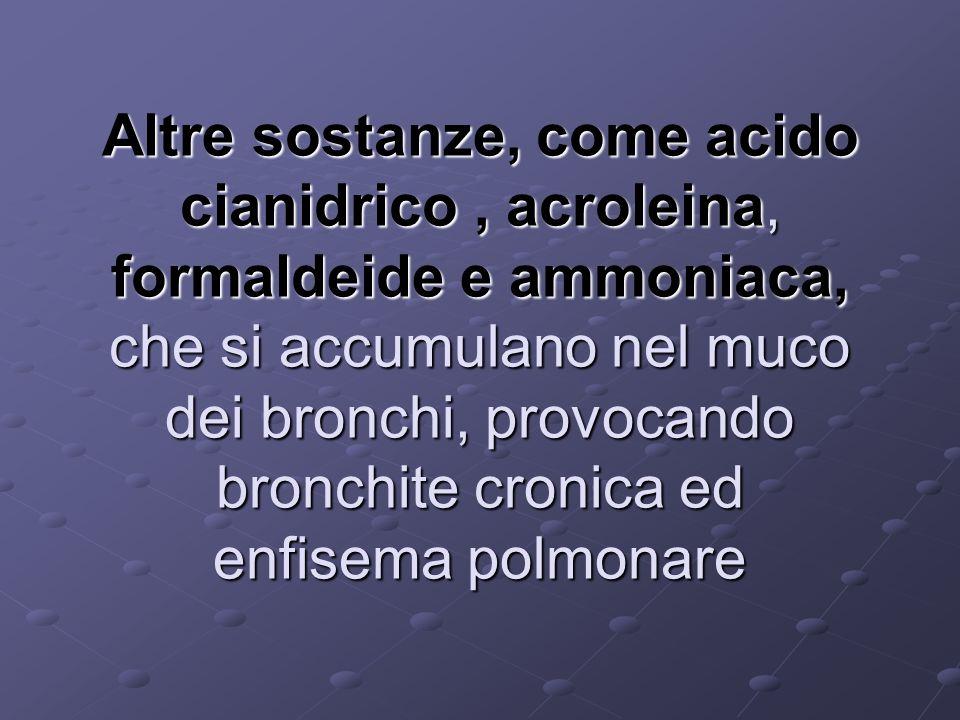 Altre sostanze, come acido cianidrico, acroleina, formaldeide e ammoniaca, che si accumulano nel muco dei bronchi, provocando bronchite cronica ed enf